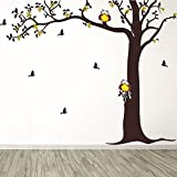 DeStudio Corner Tree With Owl, Multi Color, Wall Stickers (Wall Covering Area : 125cm X 100cm)-12393