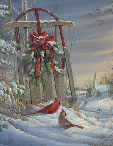51FFUBxZBkL Cheap Buy  Springbok Winter Red Birds 500 Piece Jigsaw Puzzle
