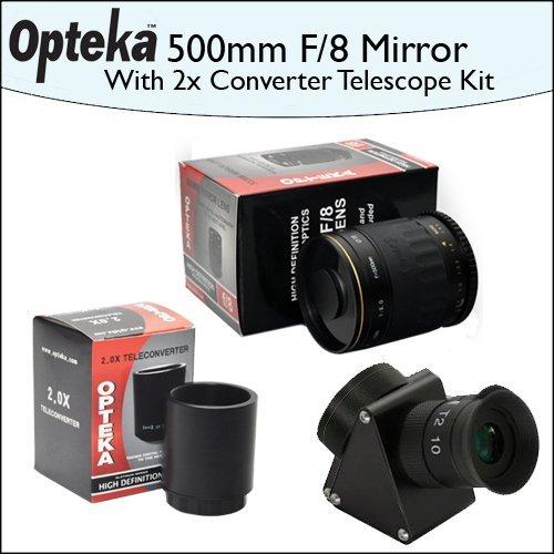 Opteka 500Mm F/8 Hd Telephoto Mirror Lens + Lens Converter To Telescope Kit + 2X Teleconverter Kit