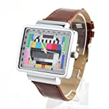 Jialilfi Faux Leather Band Luxury Square Tv Test Analog Quartz Watch Brown
