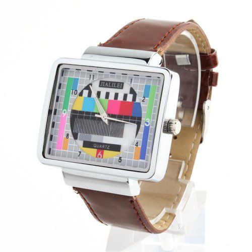 Jialilfi Faux Leather Band Luxury Square Tv Test Analog Quartz Watch Brown
