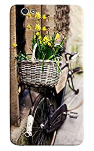 Omnam Basket Of Flower Lying On Back Of Bicycle Printed Designer Back Cover Case For Gionee S6