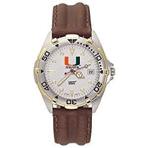 NSNSW22114P-Mens All Star University of Miami Leather Watch by NCAA Officially Licensed