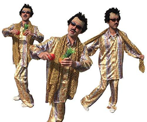 【ピコ太郎 風】 豹柄コスチューム 完全フルコスチューム 【かつら 付け髭 サングラス ストール シャツ ズボン アップル パイナップル NET-Oトートバッグ】 9点セット