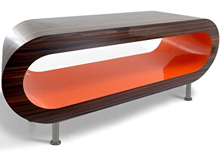 Retro Stripy Walnut and Orange Hoop Coffee Table / TV Stand in Various Sizes