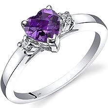 buy 14K White Gold Amethyst Diamond Heart Ring 0.75 Carat