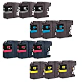 12 Compatible LC123 / LC121 Ink Cartridges for Brother DCP-J132W DCP-J152W DCP-J552DW MFC-J650DW DCP-J752DW DCP-J4110DW MFC-J870DW MFC-J4410DW MFC-J4510DW MFC-J4610DW MFC-J4710DW MFC-J470DW Printers