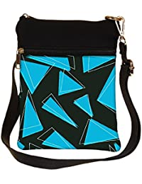 Snoogg Blue Pieces Of Triangle Cross Body Tote Bag / Shoulder Sling Carry Bag