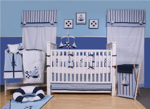 Bacati - Little Sailor 10 piece Crib Set with Bumper Pad