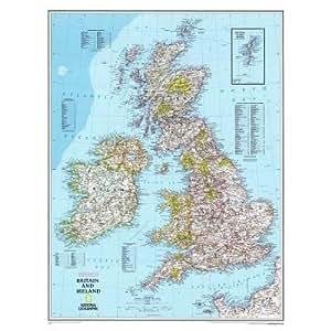 Amazon.com: LAMINATED National Geographic - Map of Britain and Ireland
