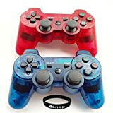 Wireless Bluetooth Controllers, Donop® Gaming pad joysticks include Donop Black silicone wristband for Sony PlayStation 3 Double Shock PS3 - Clear Red and Blue