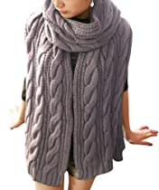 YYX Knitting Multi-color Wool Scarf Fashion Girls Women Winter Warm Soft Shawl Light grey