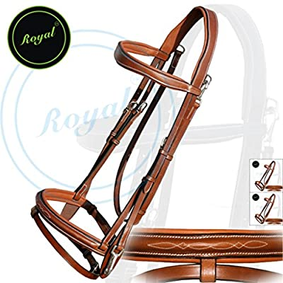 Royal Quick Release Working Bridle with PP Rubber Grip Reins./ Vegetable Tanned Leather./ Stainless Steel Buckles./ Triple Joy Pack of 3 Bridles.