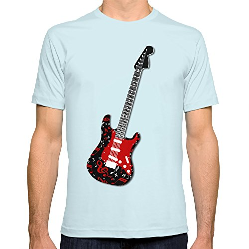 Society6 Men'S Music Notes Electric Guitar T-Shirt 2X-Large Light Blue