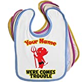 Here Comes Trouble Little Devil Personalised Baby Bib Blue Pink Yellow or White