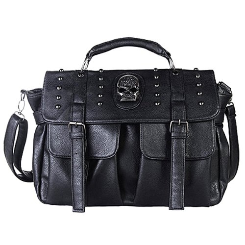 THEO Black Gothic Skull Studded Messenger Shoulder Bag Top Handle Satchel Handbag Purse