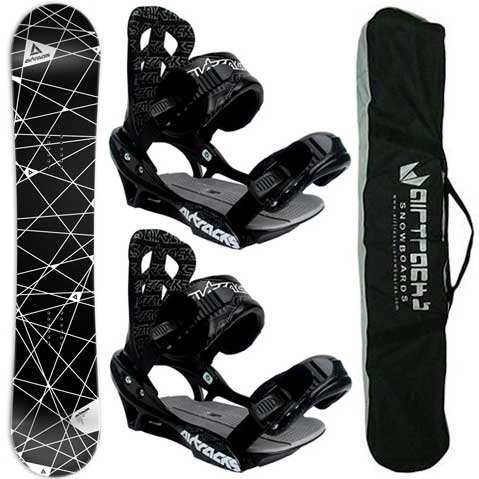 AIRTRACKS SNOWBOARD SET - WIDE BOARD MESH 163 - SOFTBINDING SAVAGE L - SB BAG