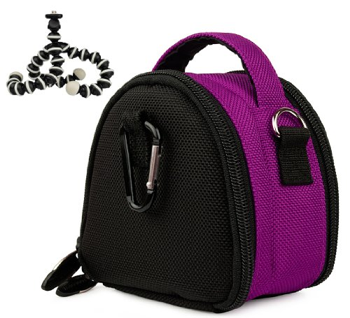 PURPLE GRAY Mini Slim Compact Protective Travel Digital Camera Carrying Case with Accessory Compartment For Canon PowerShot IXUS 110 IS ELPH SD960 IS IXY 510 IS ( PC1356 ) / 990 IS ELPH SD970 IS IXY 830 IS ( PC1357 ) / 120 IS ELPH SD940 IS IXY 220 IS ( PC