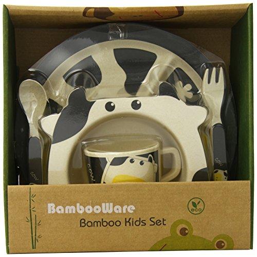 EcoBamboo Ware Kids Dinnerware Set, Cow, 5 Piece