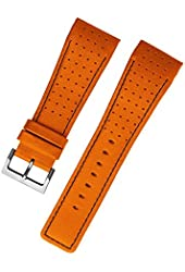 Stuhrling original mens 27mm orange with black stitching leather watch strap steel buckle st.149C.3315F23