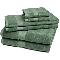 Bamboo Towel Set Super Soft and Absorbent - 6 Pieces - by ExceptionalSheets, Sage