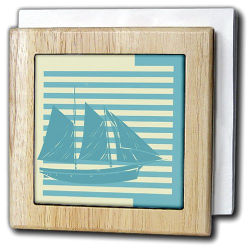 TNMGraphics Nautical - Blue Stripes and a Sailboat - 6 inch tile napkin holder (nh_221363_1)