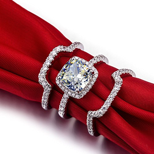 Mini World Luxury New Bridal Set Wedding Rings Sets 3 Carat G-H Cushion Princess Cut Best Quality NSCD Synthetic Diamond 3PC ring sets (8)