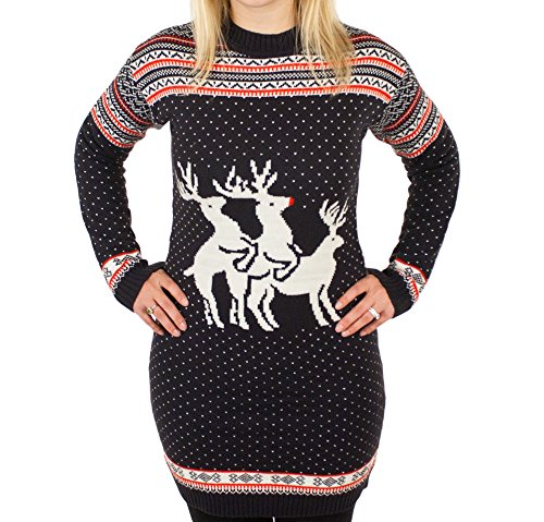 Ugly Christmas Sweater - Reindeer Threesome Naughty Holiday Sweater Dress In Blue Medium By Festified front-212903