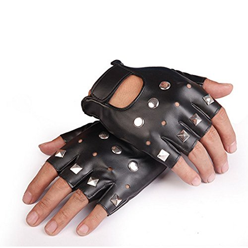Yingniao Black PU Leather Fingerless Stud Metal Fingerless Motorcycle Driving Gloves Rock Gothic Punk Style