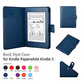 """Exact PU Leather Folio Case for Amazon Kindle Paperwhite (6"""" High Resolution Display with Built-in Light), Light Blue (with Auto Sleep/Wake)"""