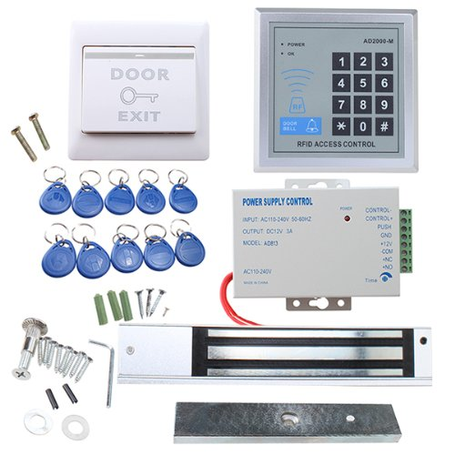 Image® Full Complete Rfid Door Access Control System Kit Set Including 280Kg 620Lb Electric Magnetic Strike Lock & 12V Dc 3A Power Supply & Proximity Door Entry Keypad +10 Key Fobs & Exit Button front-875457