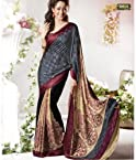 Aalya Beautiful Grey & Maroon printed saree wiyh unstitched blouse