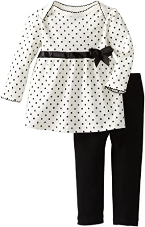 Bon Bebe Baby-girls Infant Polka Dot and Ribbon 2 Piece Pant Set, Cream/Black, 12 Months