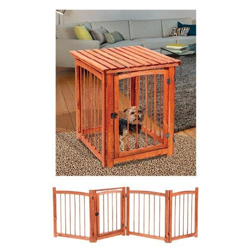 Versatile Wooden 3 In 1 Indoor/Outdoor Pet Crate, End Table And 4 Section Pet Gate With Door