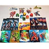 Marvel Avengers Superhero Party Favors Deluxe Set of 24 with Movie Trading Cards, Tattoos, Thumbwrestlers and Prismatic Stickers