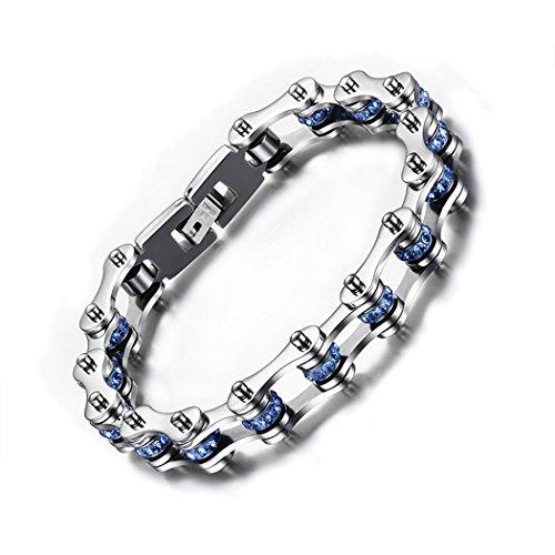 Red Dandelion Fashion Personalize Blue Rhinesstone Titanium Steel Motorcycle Chain Men Bracelet