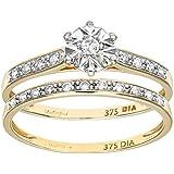 Ensemble Bague de fiançailles et alliance Femme - PR08562Y-M -  Or Jaune 375/1000 (9 Cts) 2.5 Gr - Diamant