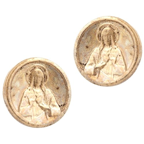 Low Luv - Saint Coin Studs - 14 Karat Yellow Gold Plated