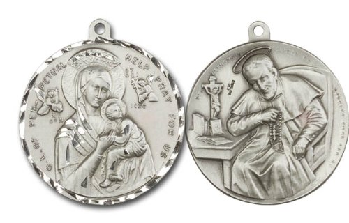 [Our Lady of Perpetual Help & St. Alphonsus Medal, Sterling Silver Pendant with 24