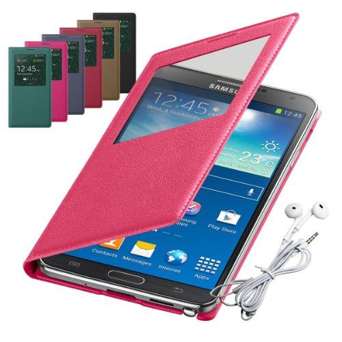 Rasfox® Luxury Leather Smart S View Flip Cover Folio Case & Geometry Earphone With Mic For Samsung Galaxy Note 3 Iii N9000 N9005 N9006 (Hotpink)