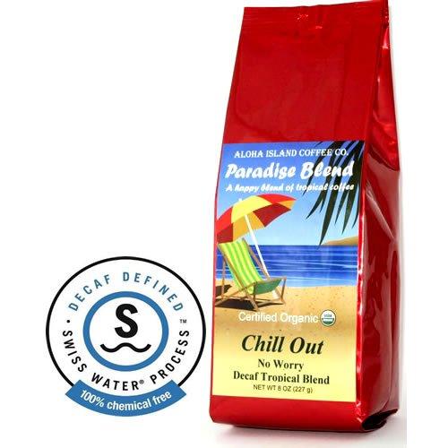 Aloha Island, Chill Out! No Worry, Water Process Decaf Organic Arabica Coffee, Medium-Dark Roast, 8 Oz Whole Bean