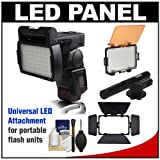RPS Studio LED Video Light Panel Attachment with Barn Doors + Diffuser Filter Set + Microphone + Cleaning Kit for Canon, Nikon, Olympus, Pentax & Sony Digital SLR Cameras & Flash Units