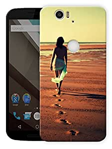 """Beach Alone Time Printed Designer Mobile Back Cover For """"Google Nexus 6 Plus"""" By Humor Gang (3D, Matte Finish, Premium Quality, Protective Snap On Slim Hard Phone Case, Multi Color)"""