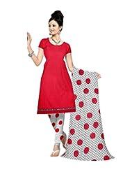 Sonal Trendz Red Color Leon Printed Art Silk Dress Material.Party Wear Festive Wear. - B018AU5BFA