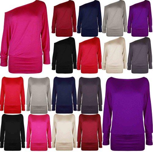 Ladies Womens Big PLUS Size Plain Baggy One Off Shoulder Batwing Top Dress 8-20