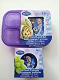 Disney Frozen 3 Sectioned Lunch Kit + Mini Snack Container Bundle of 2 Items