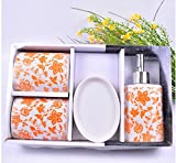 Chinese-style Floral Pattern 4 Piece Bath Ensemble, Ceramic Bathroom Accessory Set with Soap Dish, Lotion Dispenser, Toothbrush Holder & Tumbler (Orange)