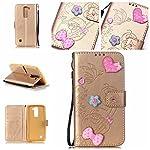 Handyhülle für LG K7, BONROY® PU Leder Hülle Flip Case Booklet Geldbörse mit Standfunktion, Kartenfach & Weich TPU Innere - Pink Love Heart