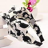 カチューシャ リボン 大きい 花柄 布地 ヘアアクセサリー 可愛い バカンス ギフト包装可 (白黒)
