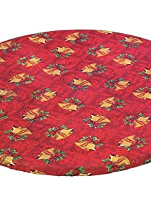 "Holiday Fitted Tablecloths - 68"" Oval, Color Bells"